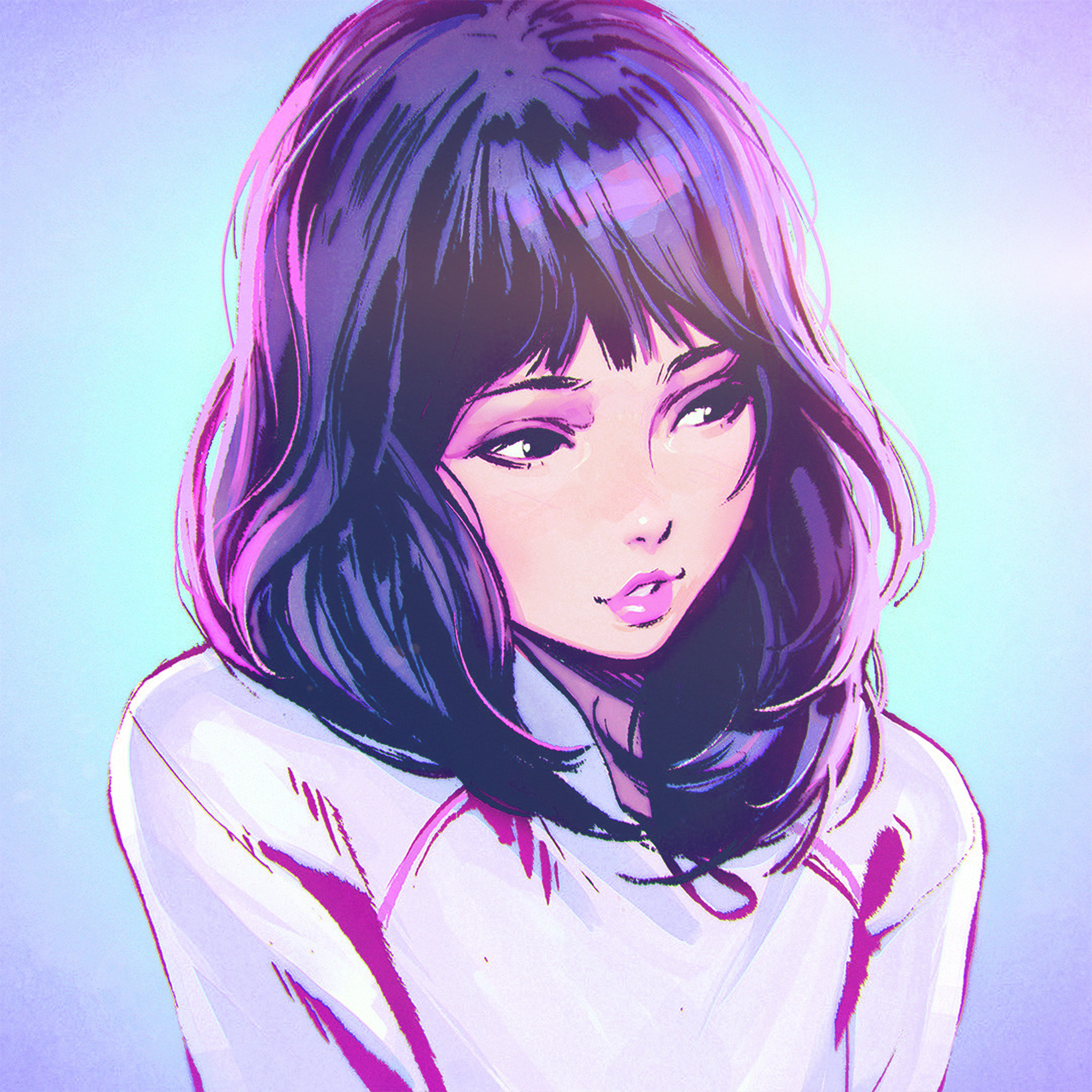 Abstract Girl Face Wallpaper Aw58 Ilya Kuvshinov Girl Blue Face Illustration Art Wallpaper