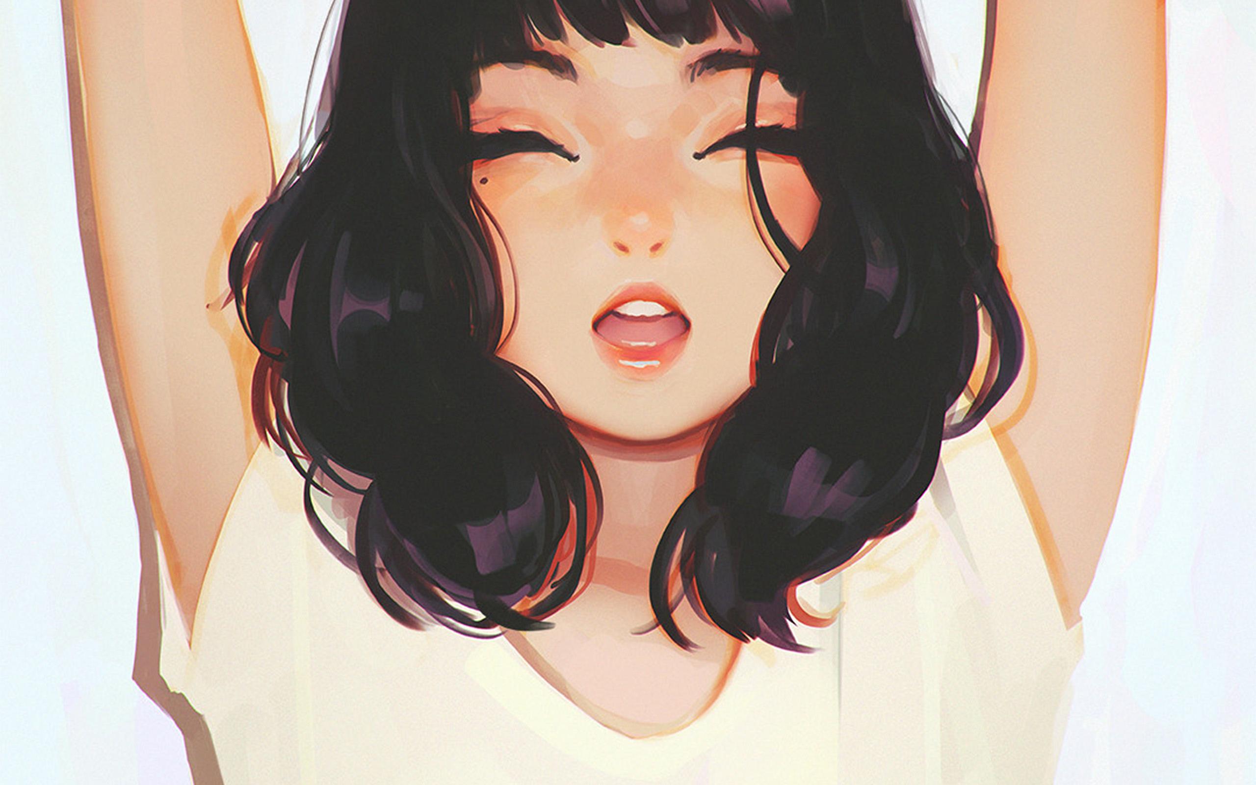 Cute Drawing Desktop Wallpaper Ax04 Girl Smile Ilya Kuvshinov Illustration Art Wallpaper