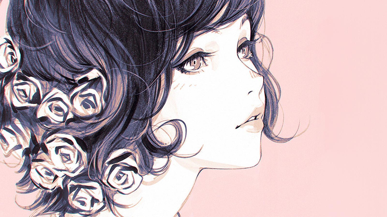Fall Iphone Wallpaper Pinterest Az01 Girl Flower Lady Pink Ilya Kuvshinov Illustration Art