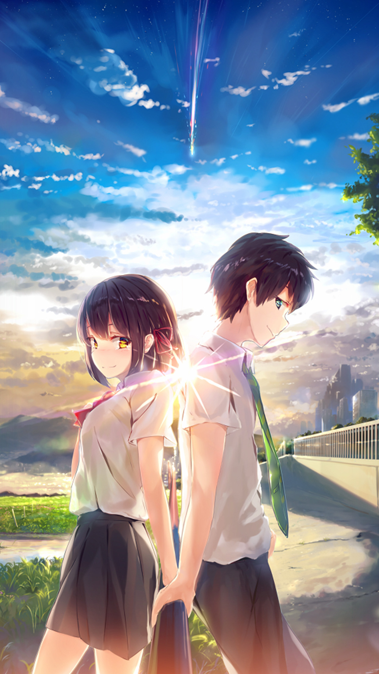 Car Boy Wallpaper Az03 Anime Yourname Sky Illustration Art Wallpaper
