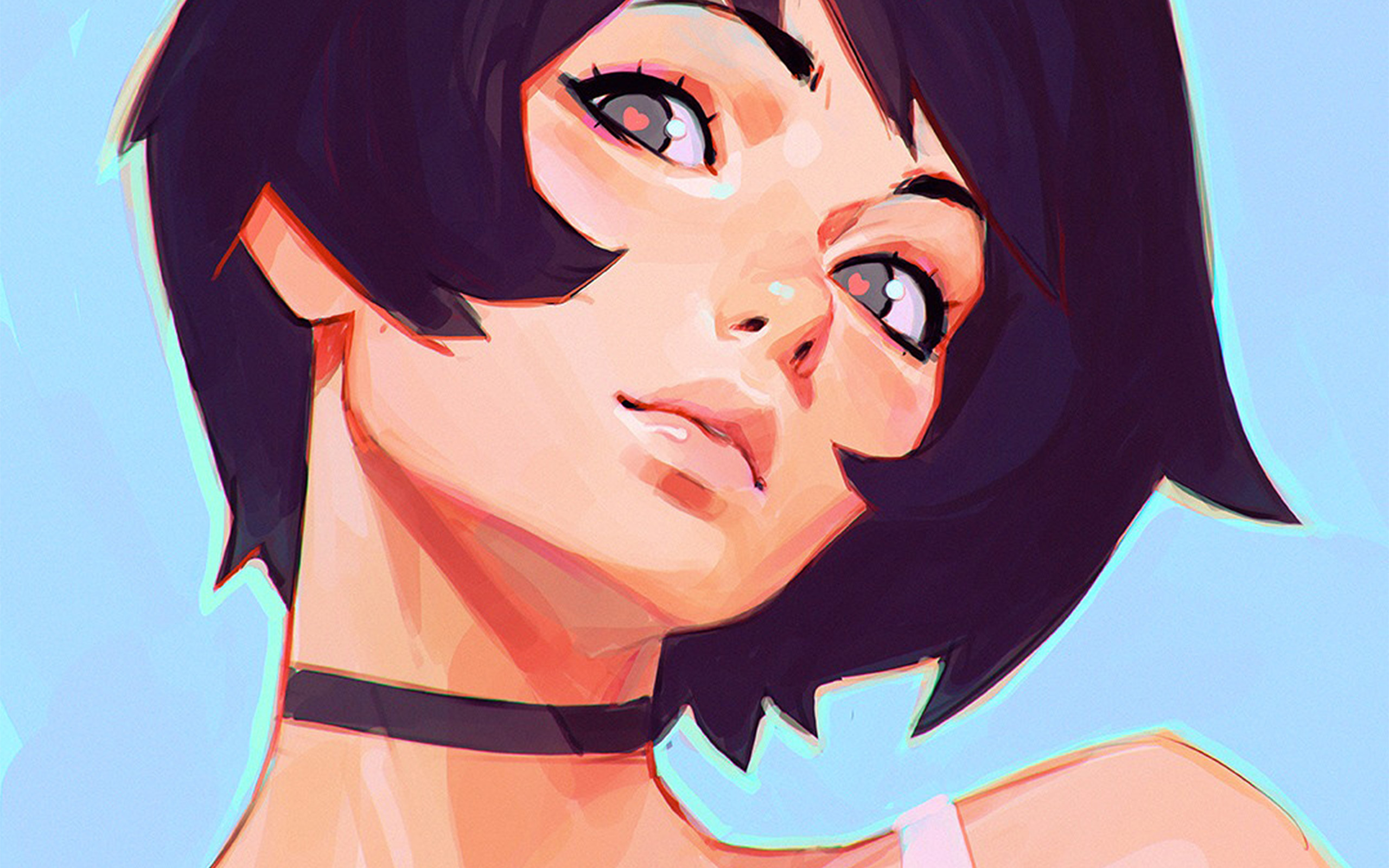 Anime Girl Hd Wallpaper For Android Az35 Girl Face Ilya Kuvshinov Illustration Art Wallpaper