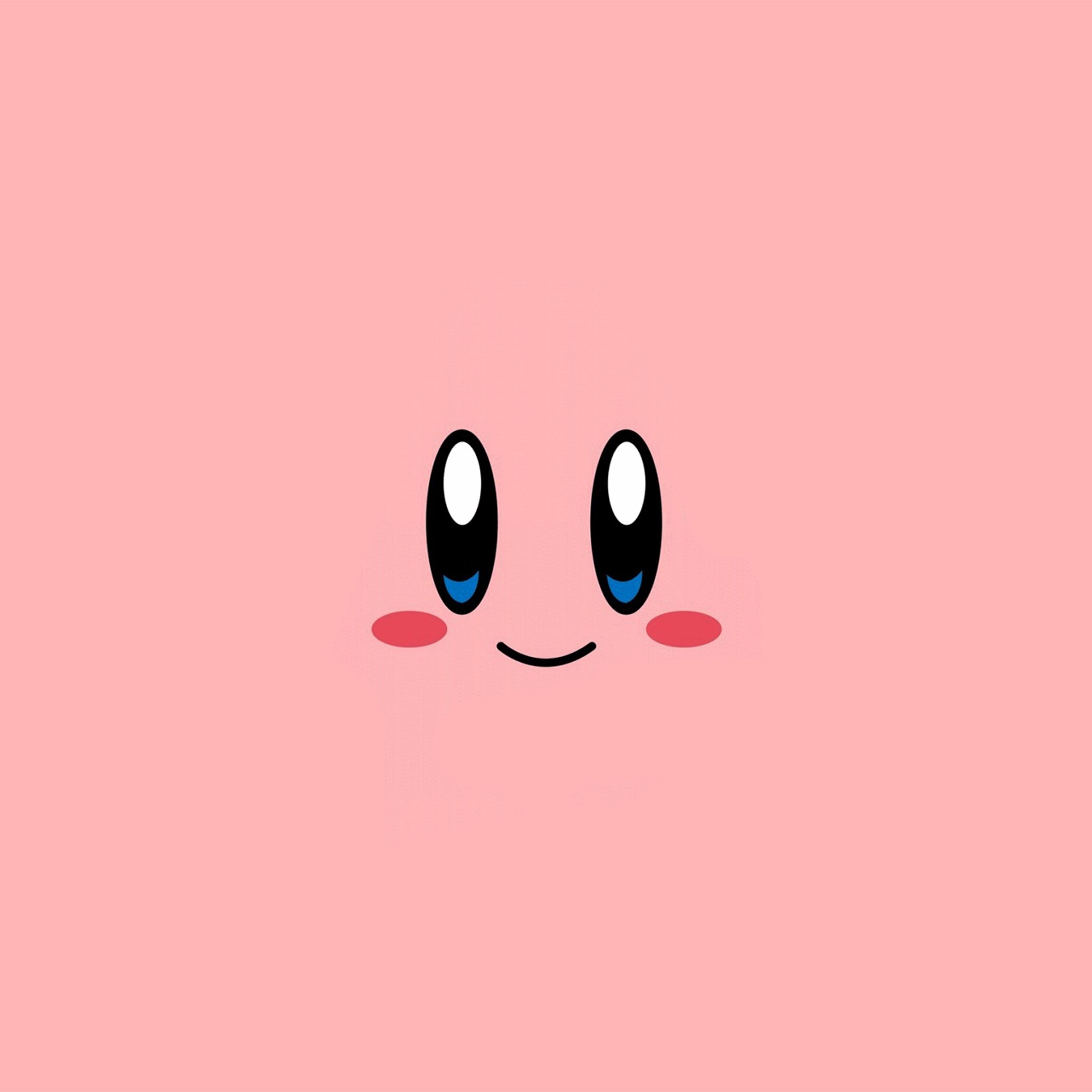Cute Cartoon Face Wallpapers Az54 Kirby Pink Face Cute Illustration Art Wallpaper
