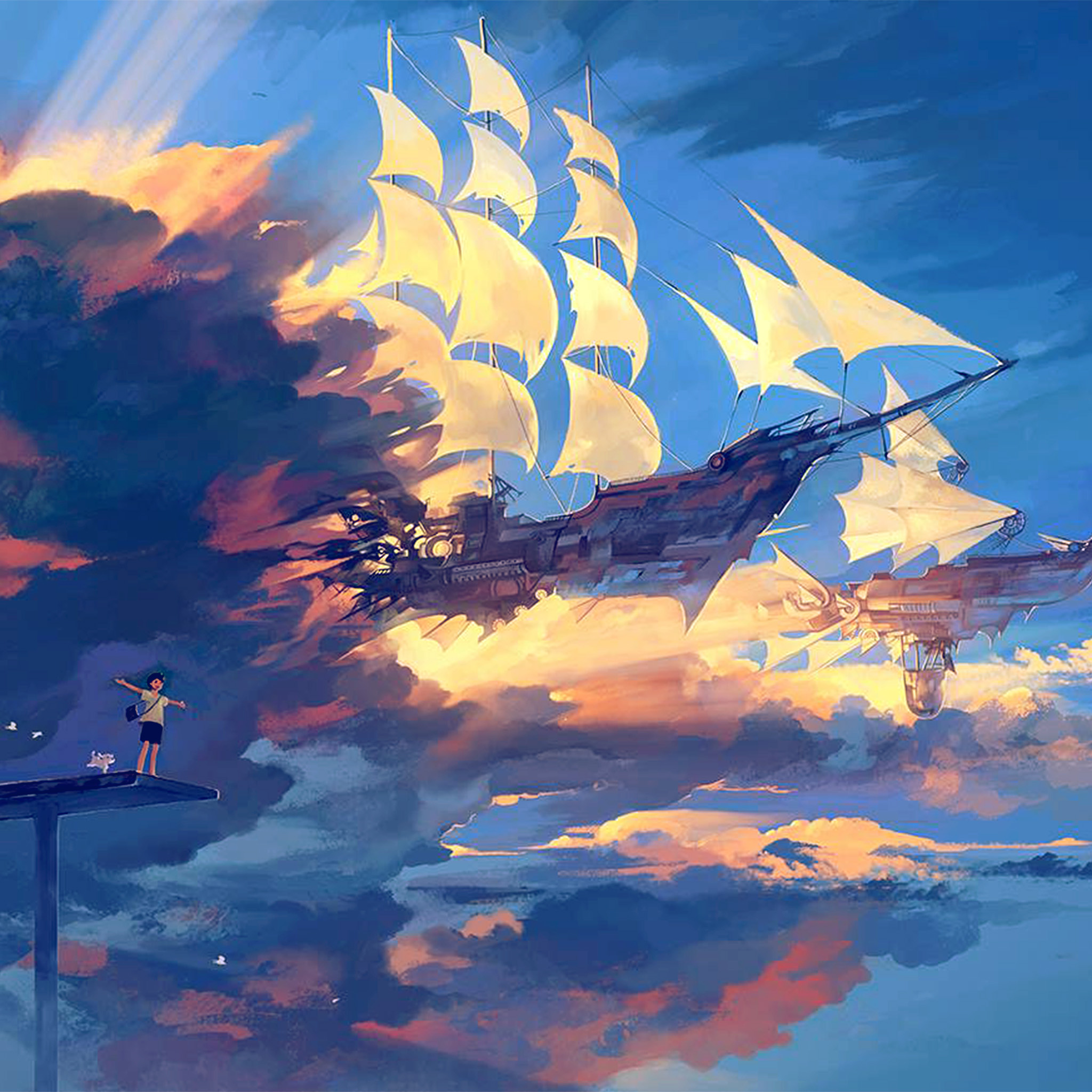 1080p Pretty Anime Girl Wallpaper Az68 Fly Ship Anime Illustration Art Blue Wallpaper