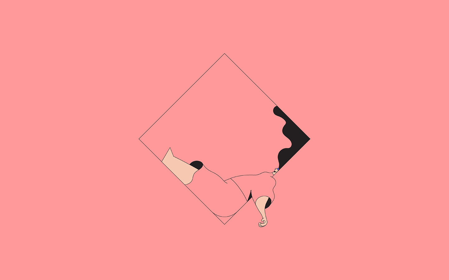 Minimalist Cute Desktop Wallpaper Bb08 Minimal Drawing Pink Illustration Art Wallpaper