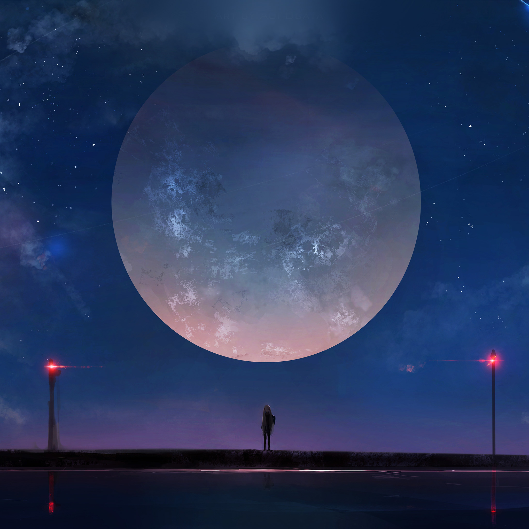 Best Car Wallpapers For Iphone Bc62 Moon Anime Night Art Illustration Wallpaper