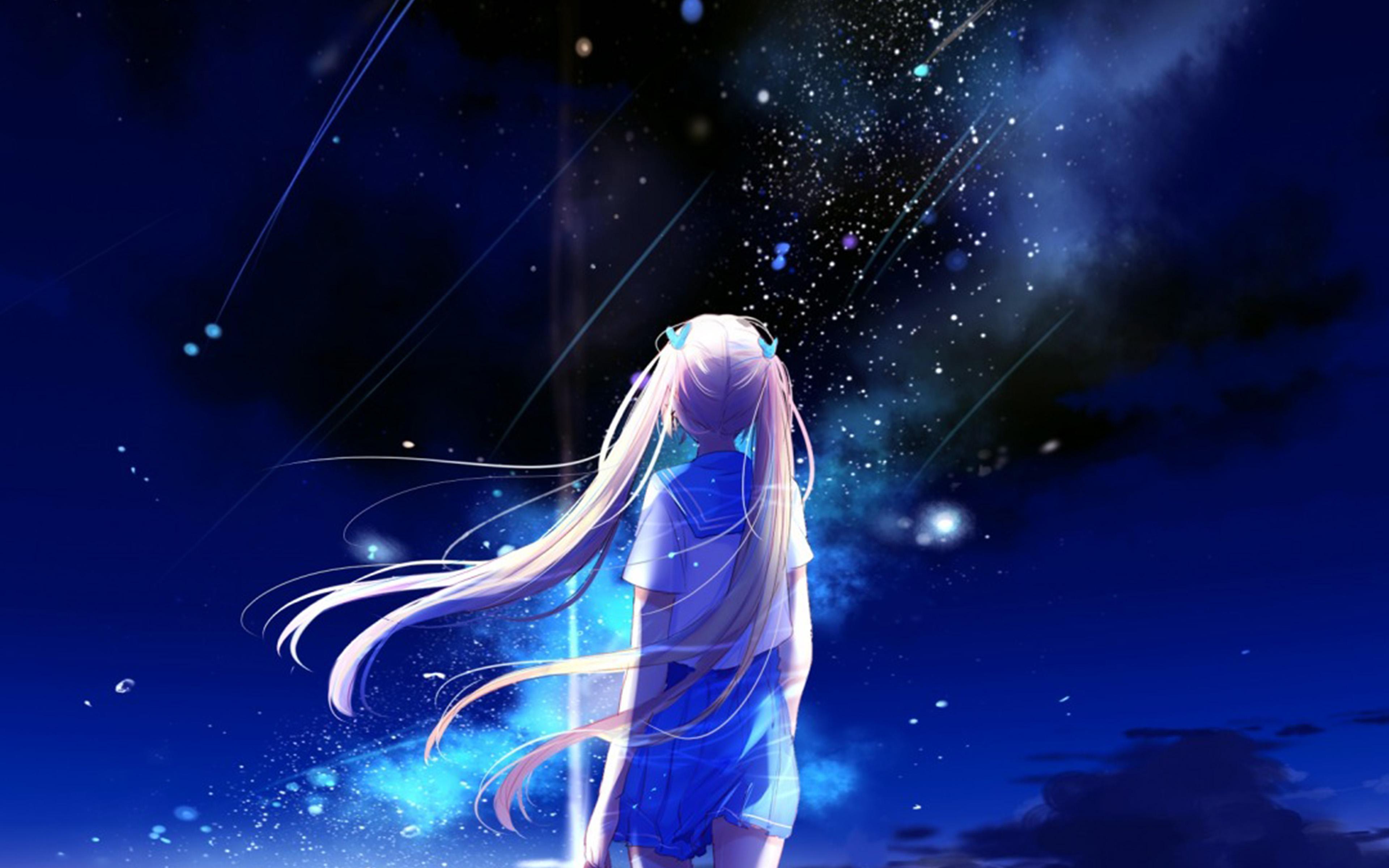 Hd 2160 Wallpapers Girl Bc64 Anime Night Space Star Art Illustration Wallpaper