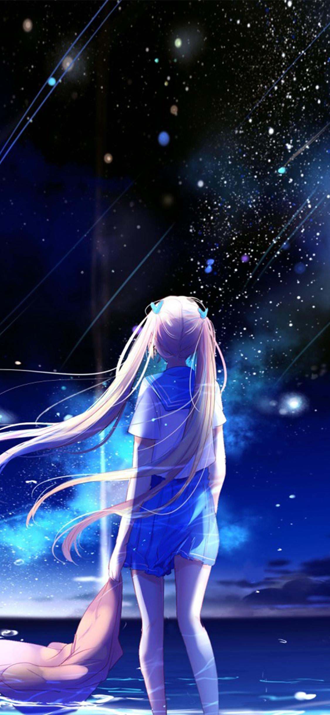Anime Kawaii Girl Wallpaper Bc64 Anime Night Space Star Art Illustration Wallpaper