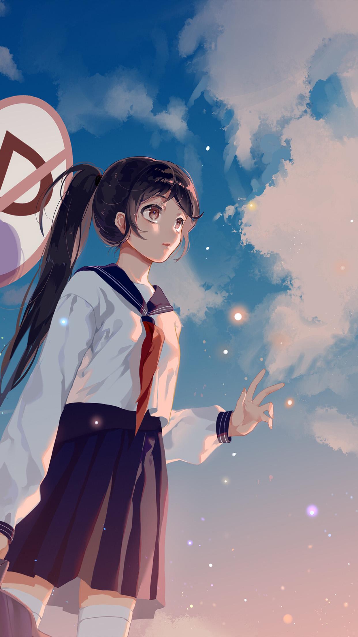 Wallpaper Girl Happy Bc66 Girl School Girl Anime Sky Cloud Star Art