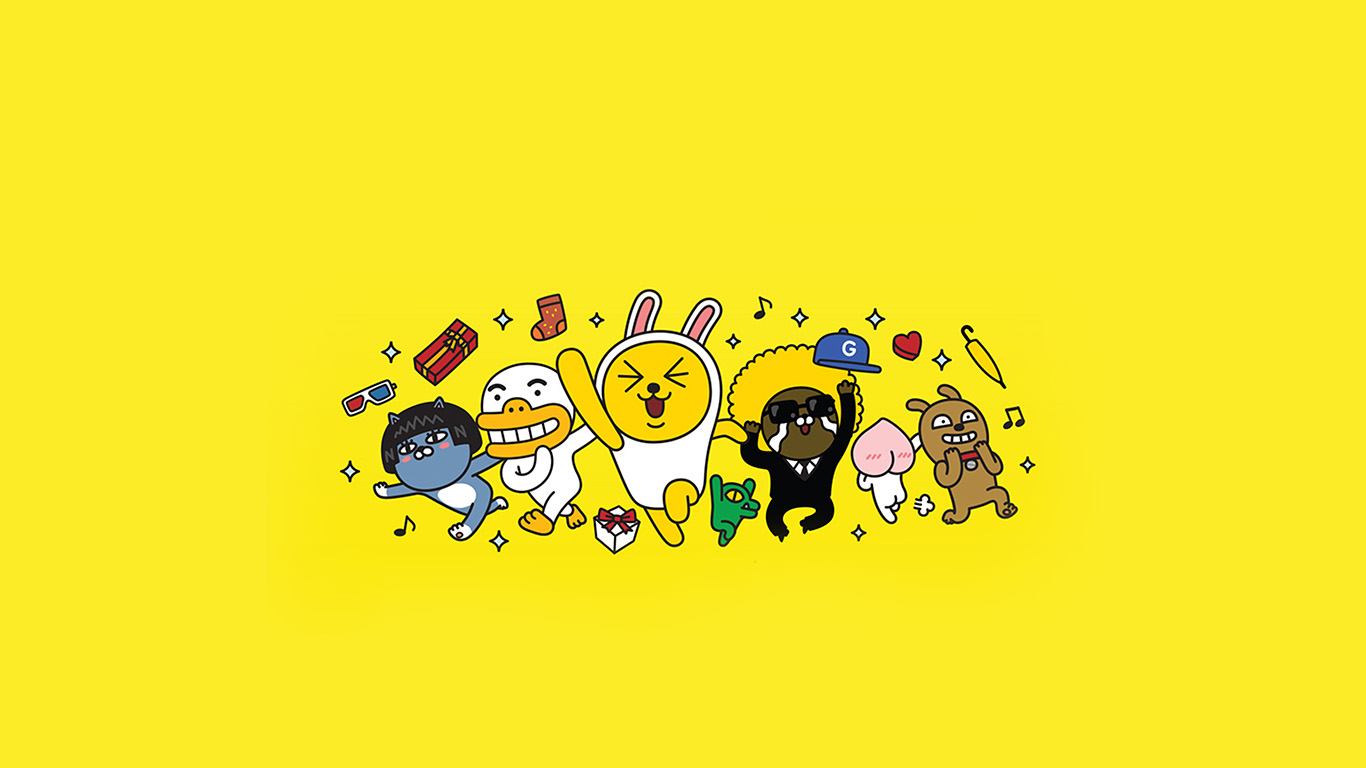 Cute Wallpapers Gold White Bc88 Kakao Yellow Friends Anime Art Illustration Wallpaper