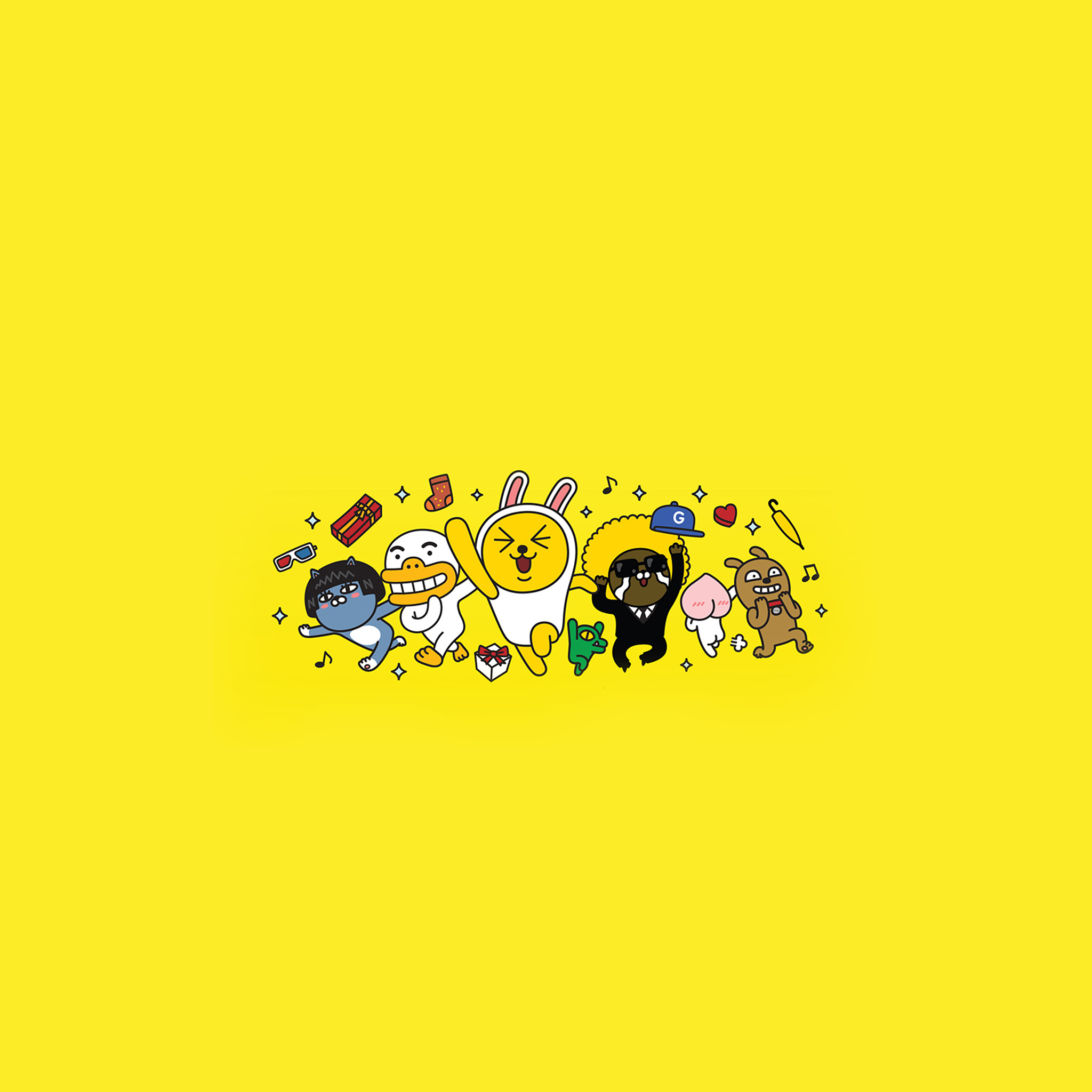 Iphone X Wallpaper For Note 8 Bc88 Kakao Yellow Friends Anime Art Illustration Wallpaper
