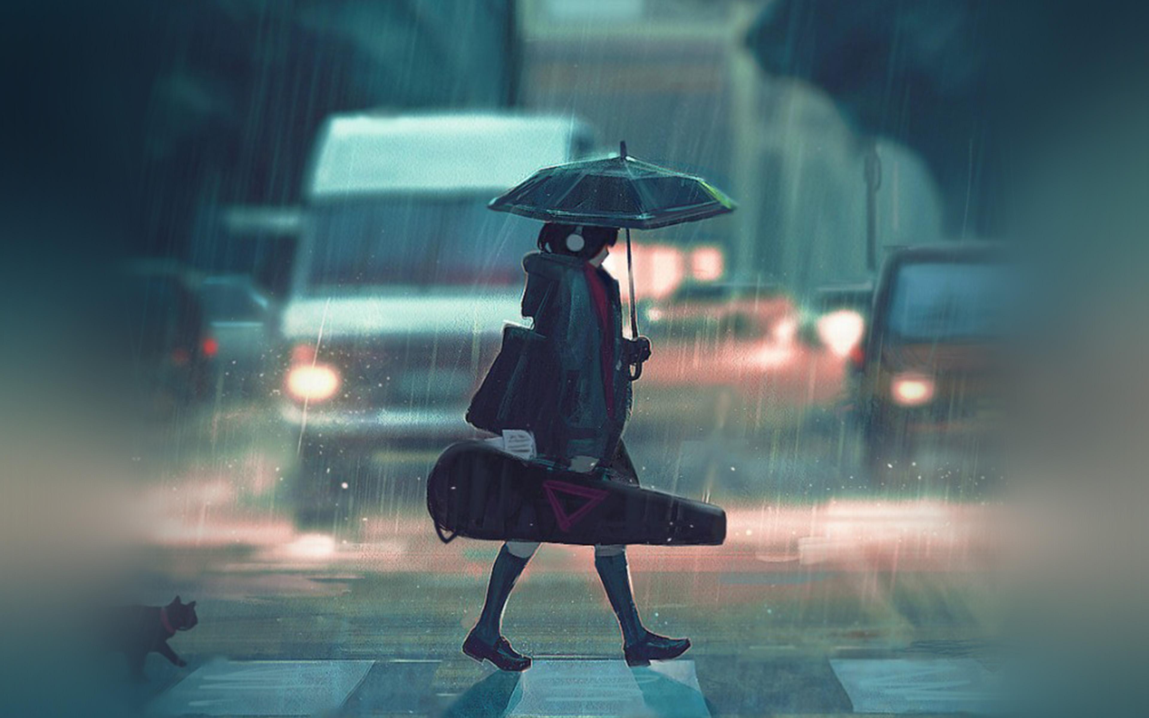 Cute Small Sad Girl Wallpaper Bc89 Rainy Day Anime Paint Girl Art Illustration Wallpaper