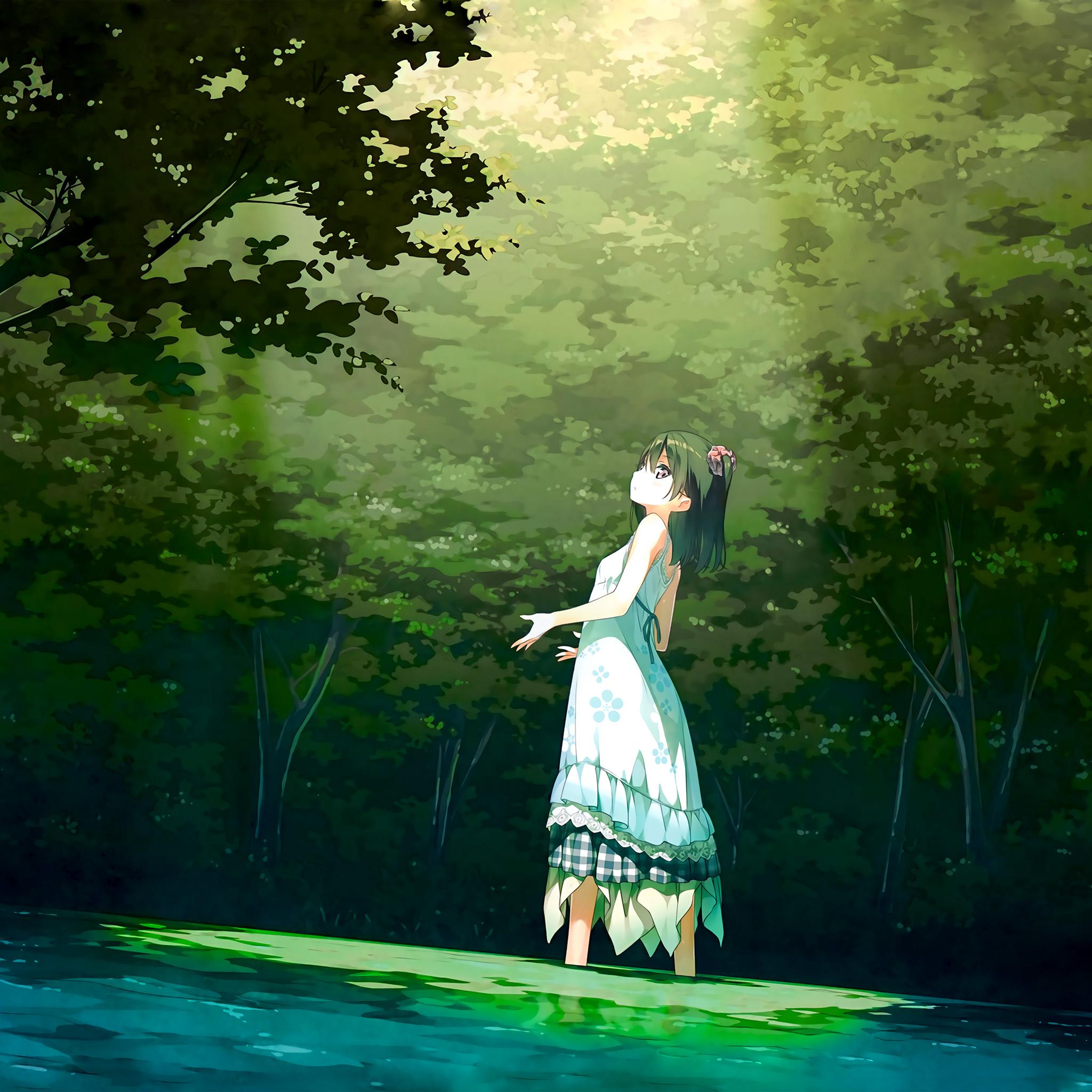 Iphone 4 Car Wallpapers Be21 Anime Girl Green Art Illustration Wallpaper