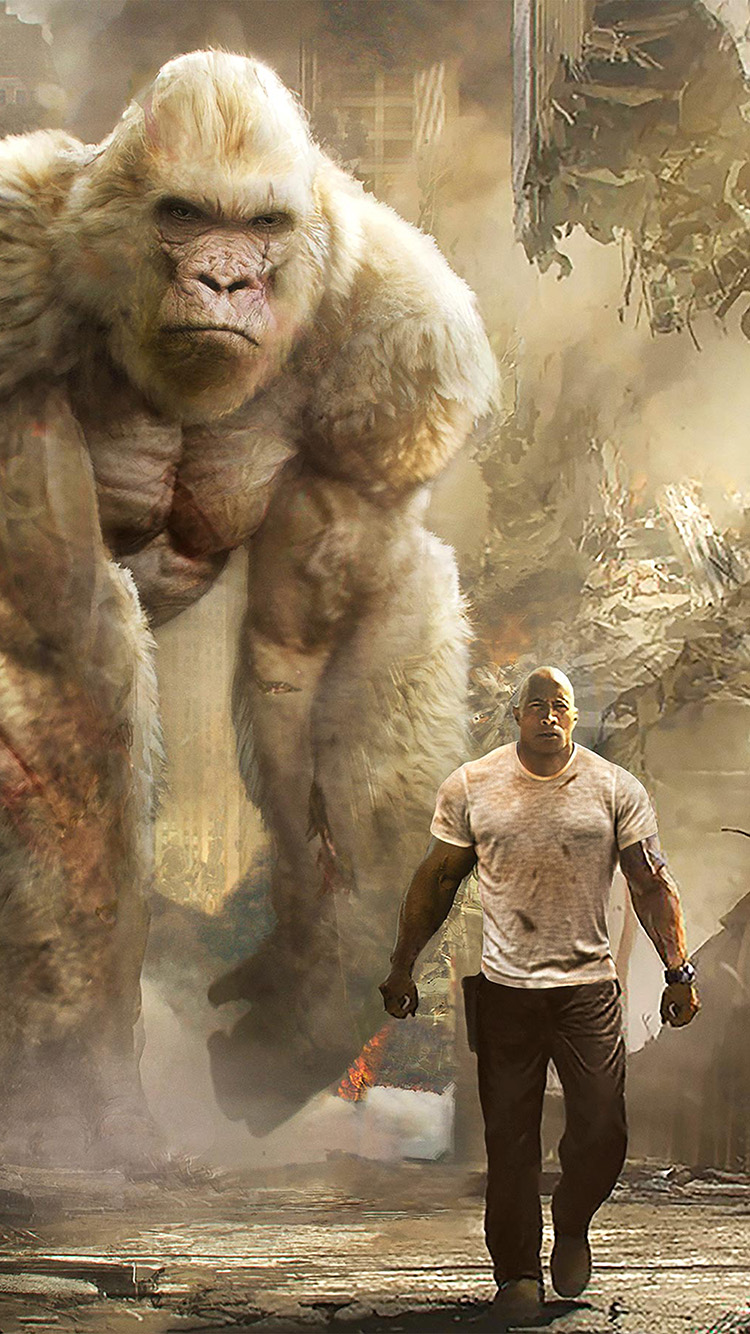 Iphone 5 Apple Logo Wallpaper Be43 Rampage Dwayne Johnson Film Art Illustration Wallpaper