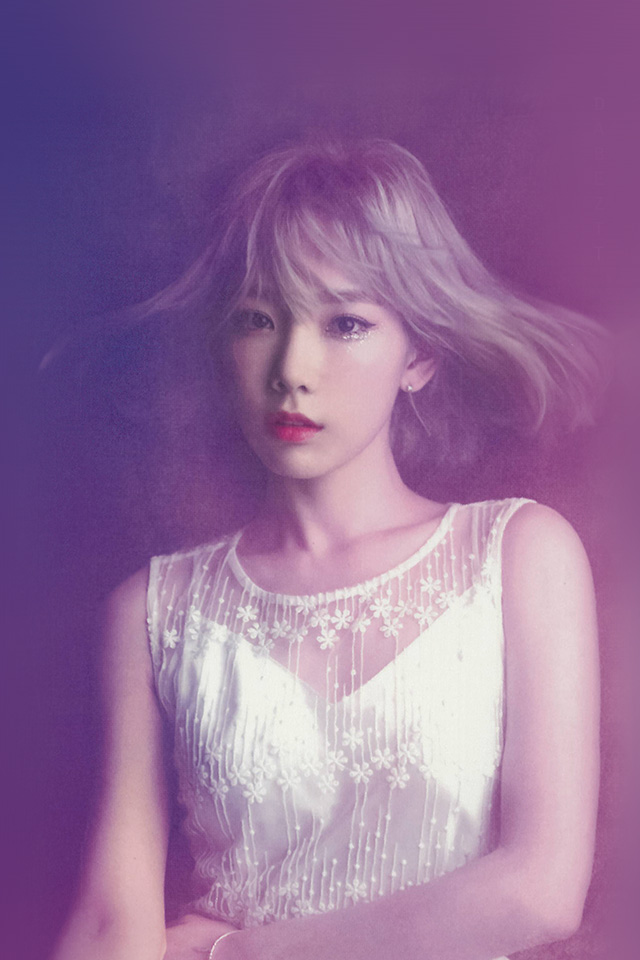 Hd Love Kiss Wallpapers For Android Hk82 Taeyeon Snsd Kpop Girl Purple Pink Wallpaper