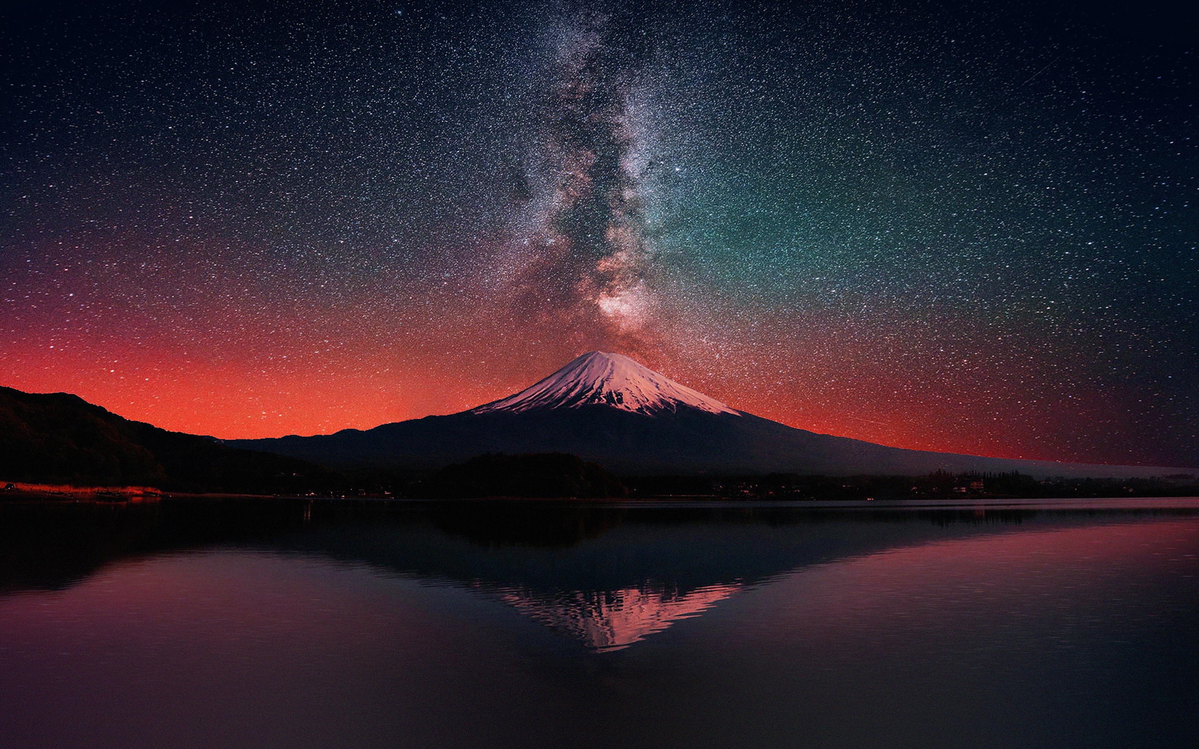 Fall Ipad Wallpaper Hd Mc69 Wallpaper Milky Way On Dark Mountain Fuji Sky Papers Co