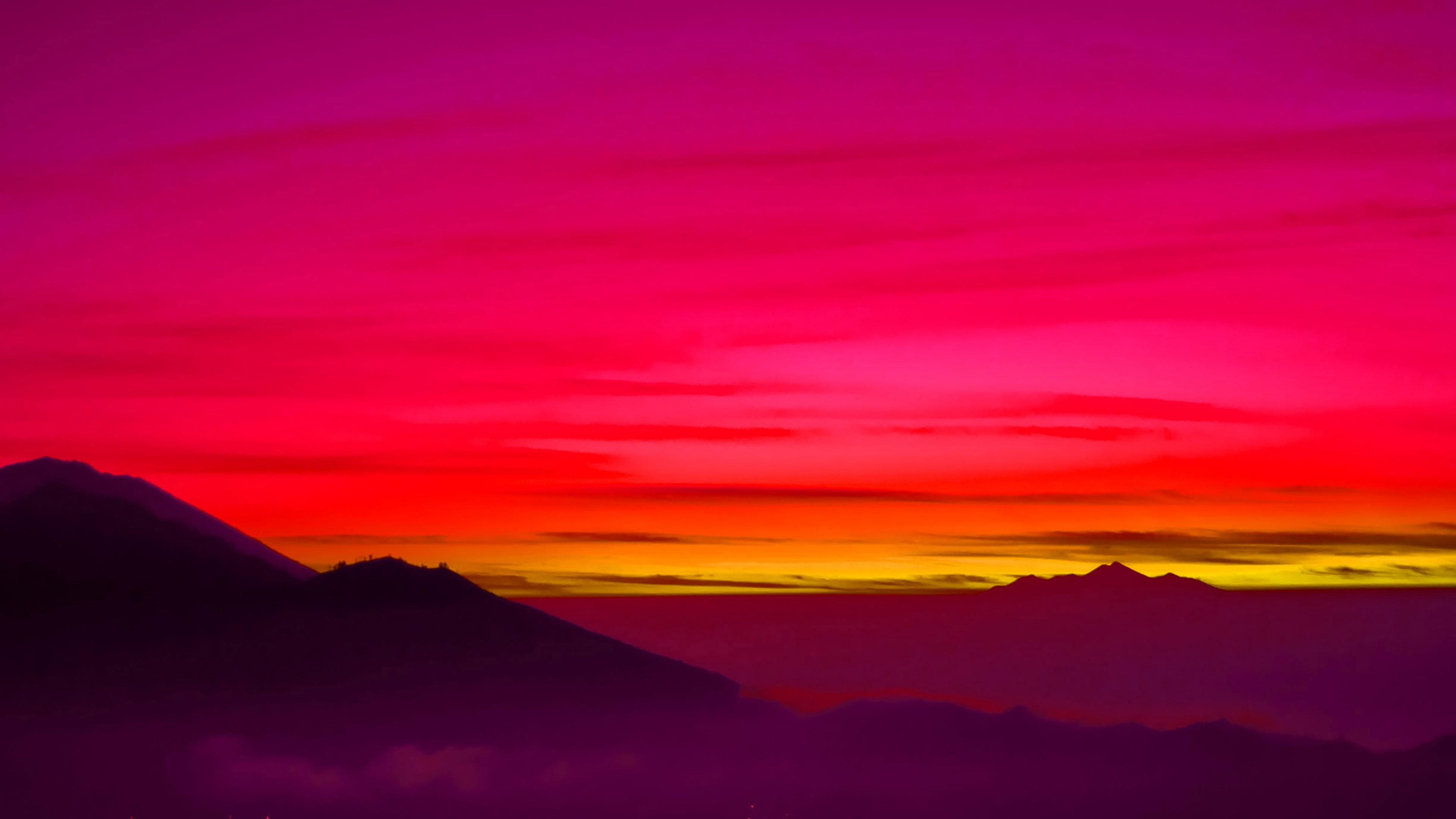 Iphone X Gold Wallpaper Mc97 Wallpaper Red Balinese Dream Sea Mountain Sunset