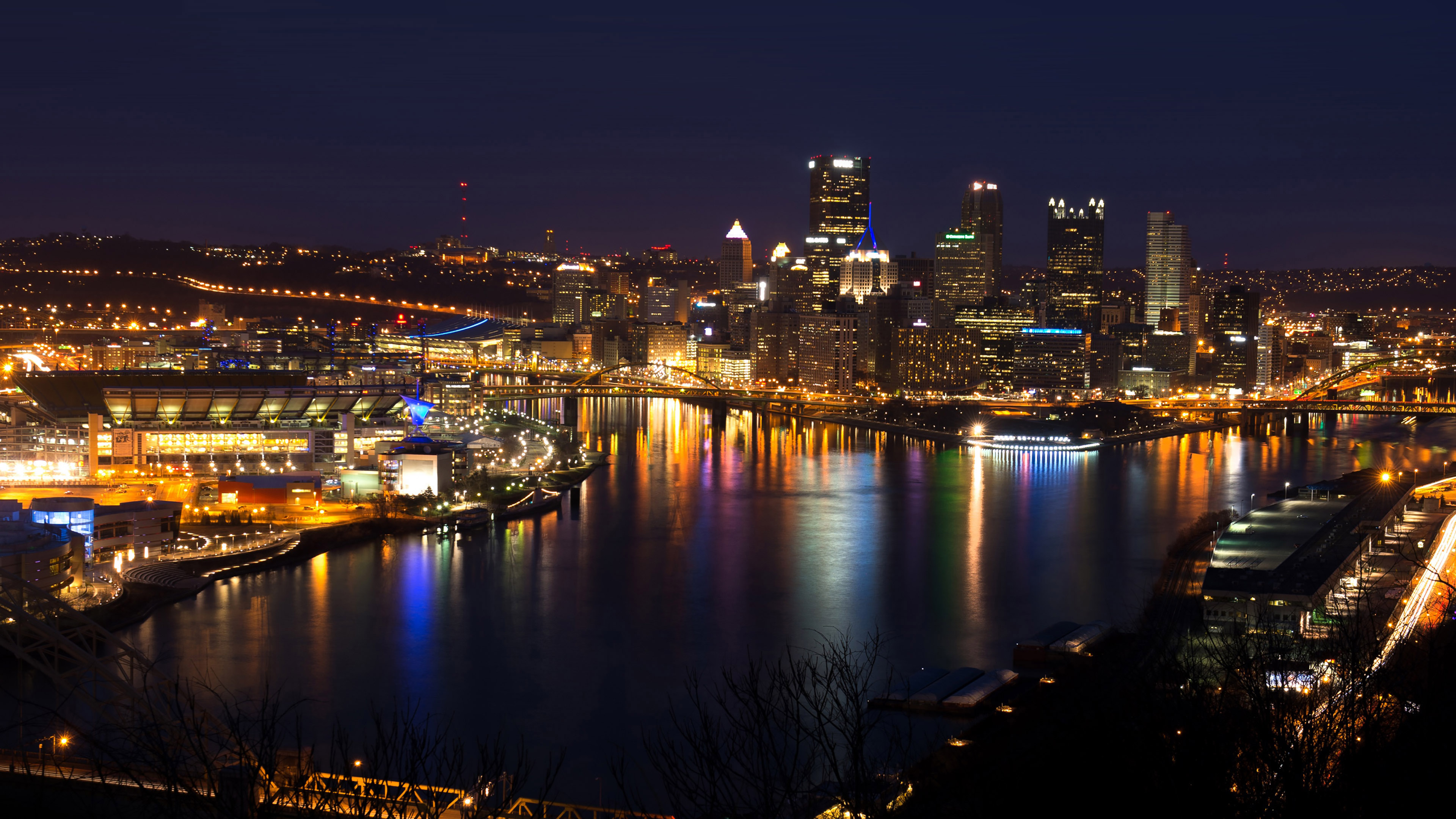 Dark 3d Wallpaper For Android Mh19 Pittsburgh Skyline Night Cityview Nature Papers Co