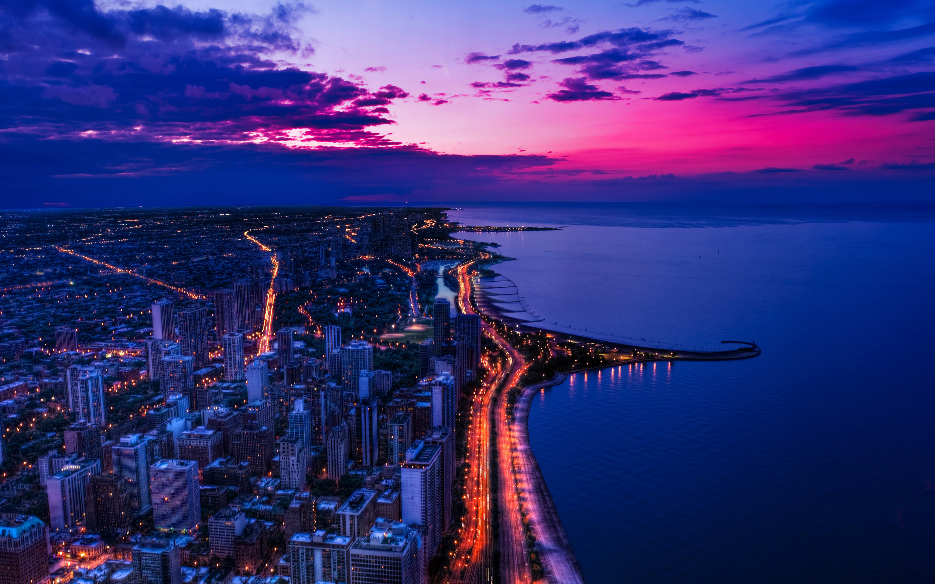 Paisajes Wallpapers Full Hd Mh45 Chicago City Night Sky View Scape Ocean Beach Papers Co