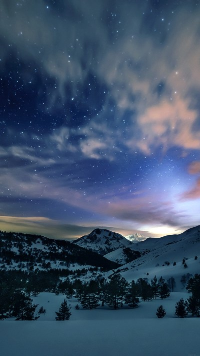 mk78-aurora-star-sky-snow-mountain-winter-nature - Papers.co