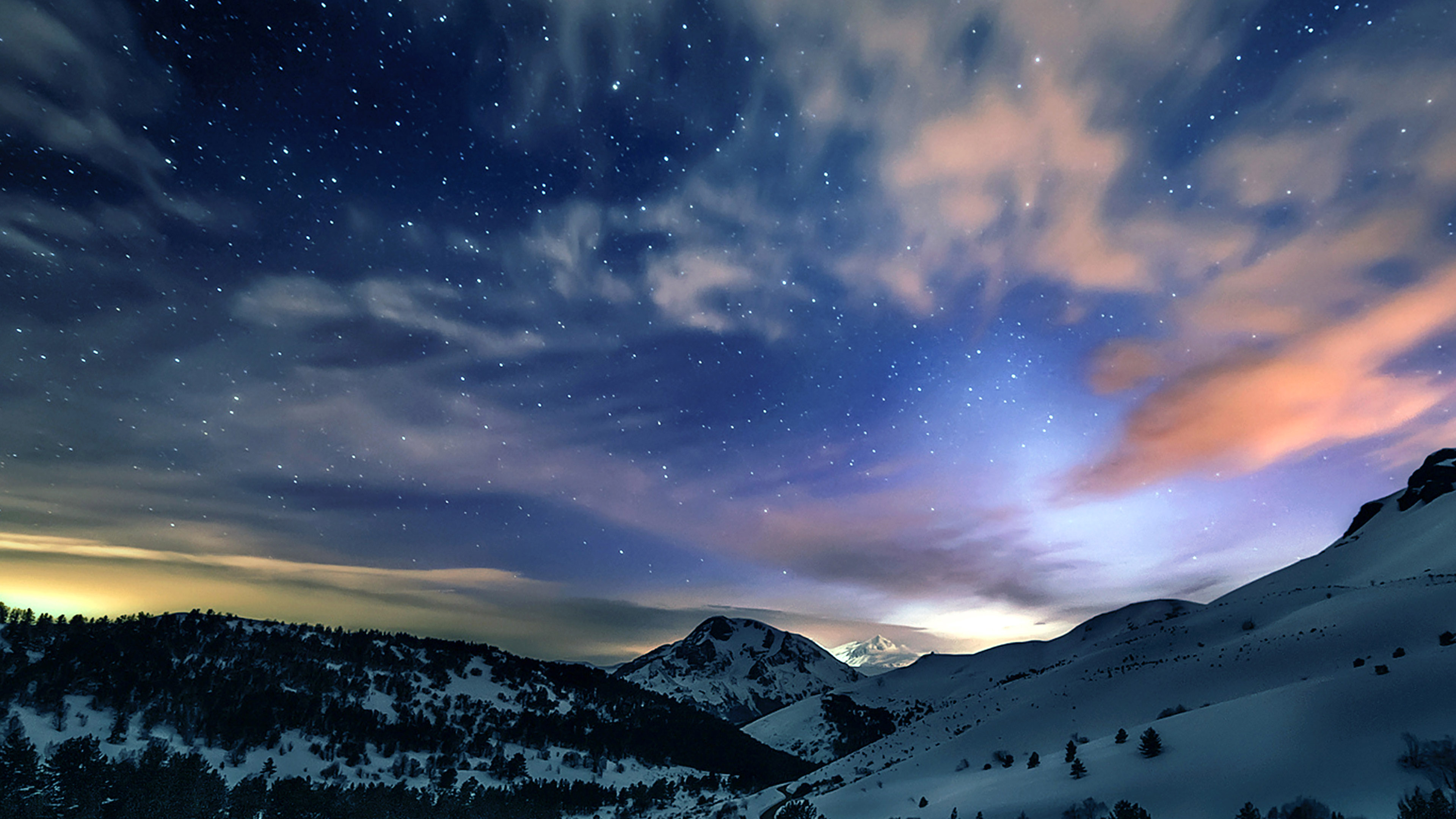 3d Wallpaper S8 Mk78 Aurora Star Sky Snow Mountain Winter Nature Papers Co