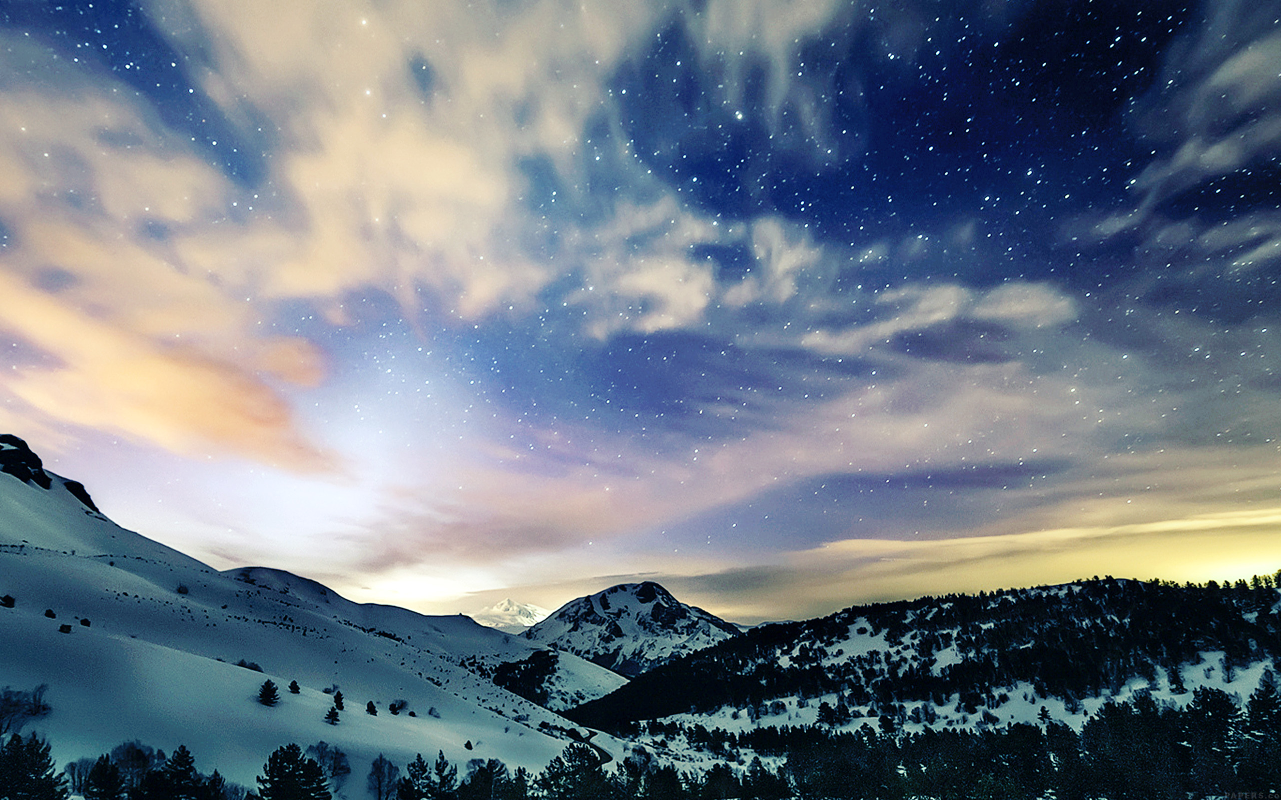 Mini Car Hd Wallpaper Mk79 Aurora Star Sky Snow Night Mountain Winter Nature