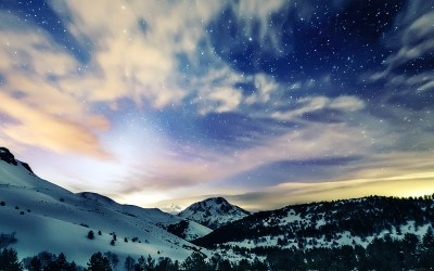 mk79-aurora-star-sky-snow-night-mountain-winter-nature-wallpaper