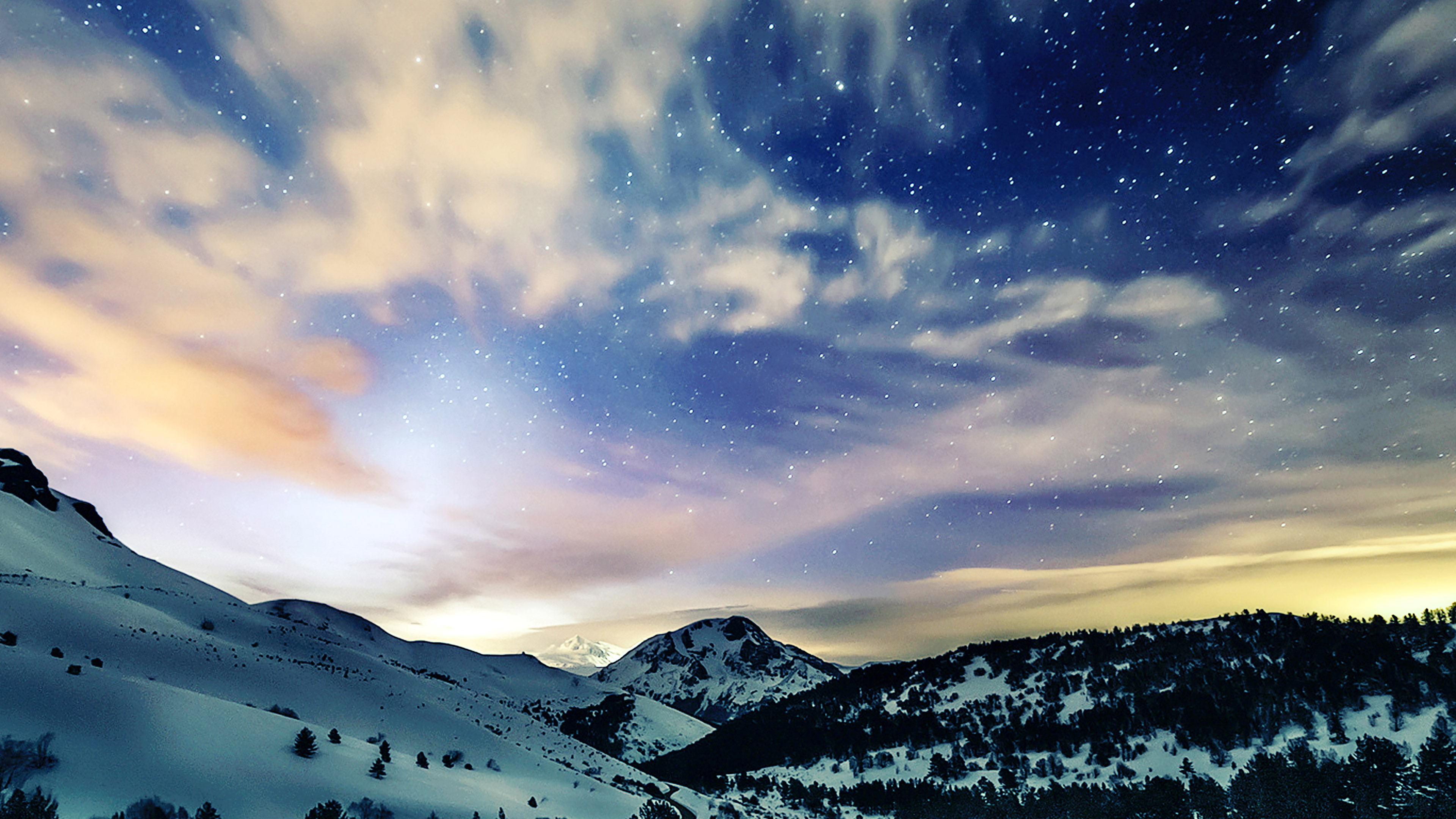 Wallpaper Desktop Fall Mk79 Aurora Star Sky Snow Night Mountain Winter Nature
