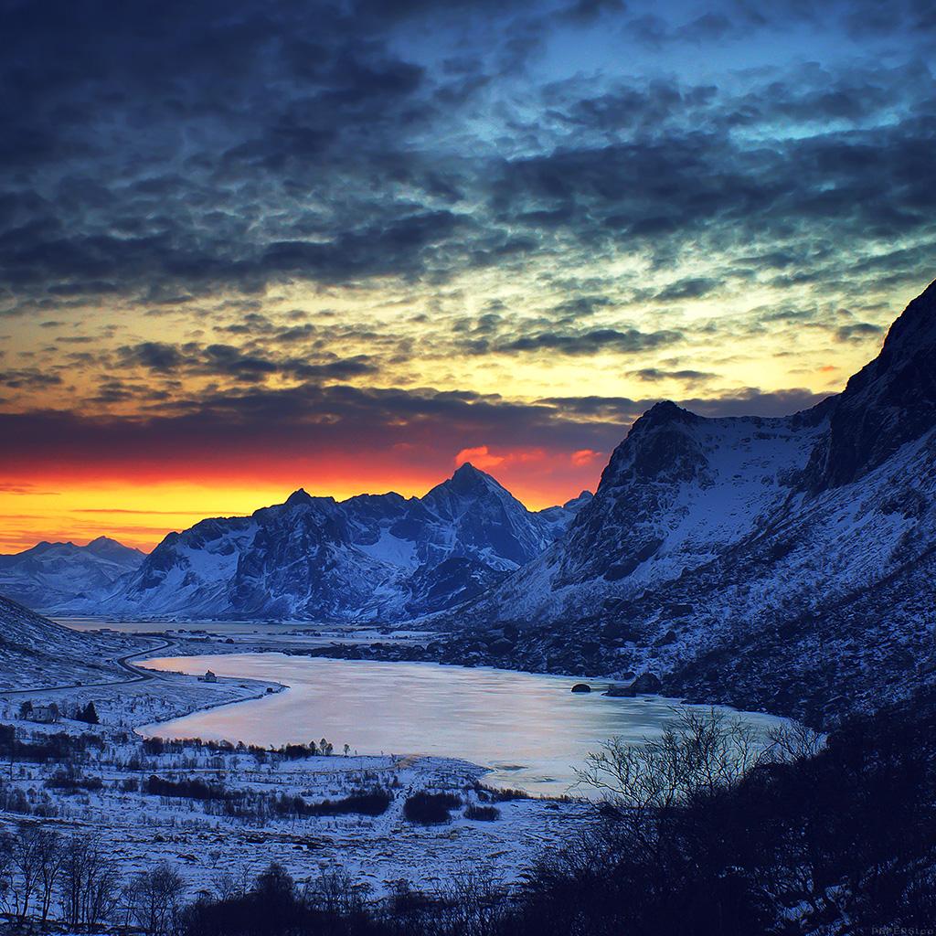 Iphone Pretty Wallpaper Ml18 Snow Lake Blue Night Mountain Cold Wallpaper
