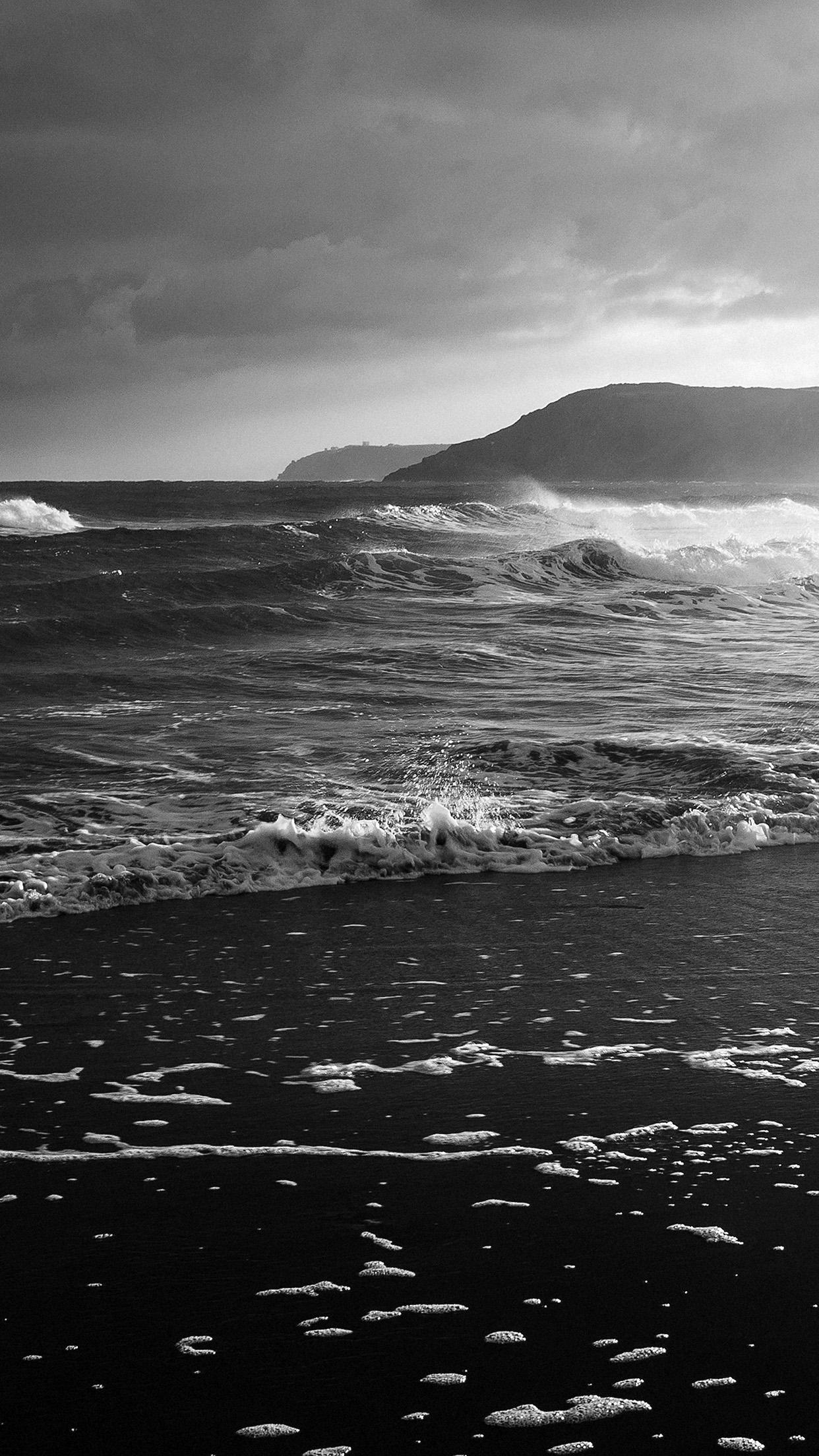 Ocean Waves Iphone Wallpaper Mt68 Beach Costal Nature Sea Water Summer Bw Summer Flare
