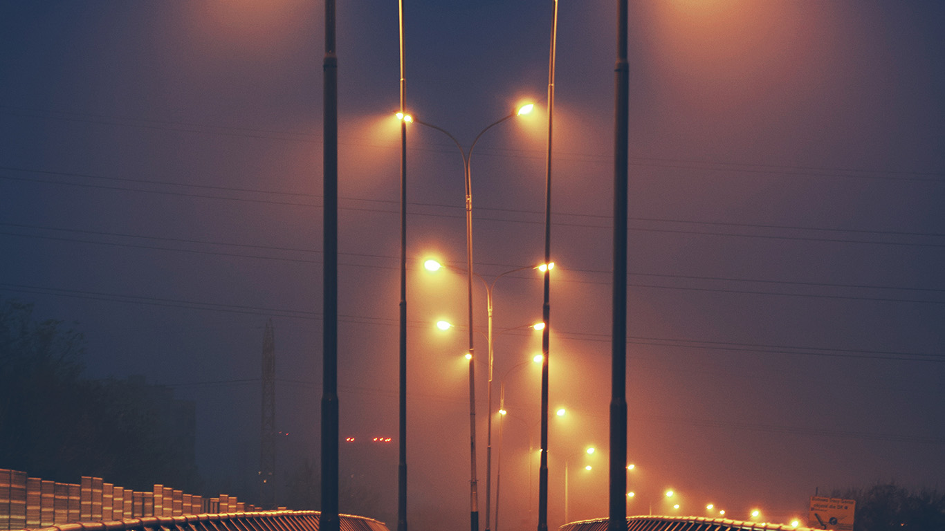 Fall Mountain Wallpaper Mv05 Night Bridge City View Lights Street Orange Dark