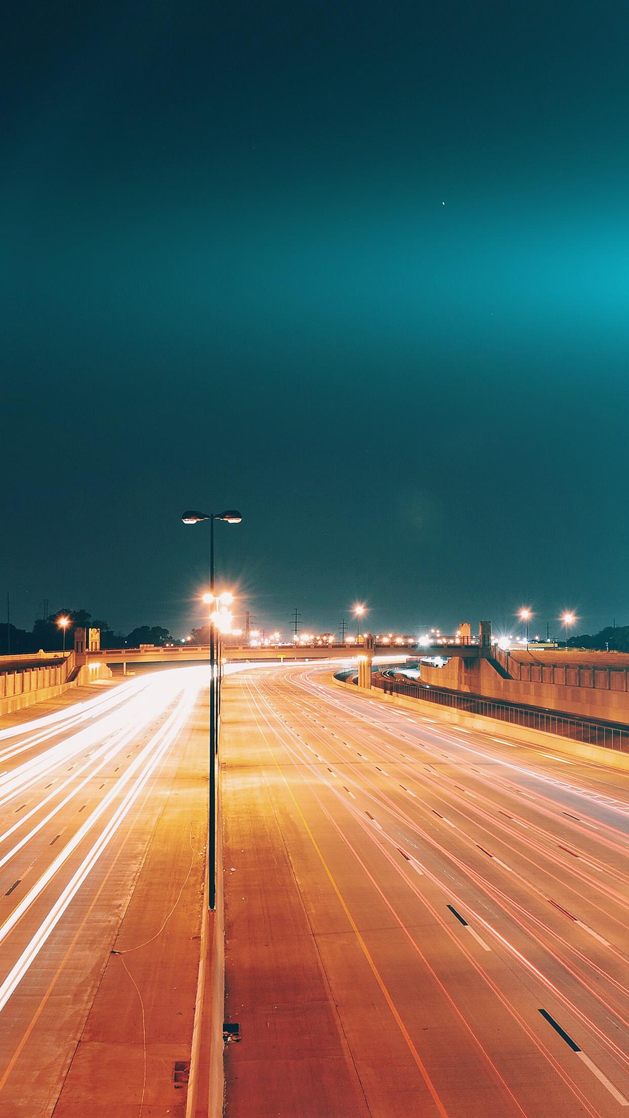 Car Lights Night Wallpaper Mv60 Road Street City Night Car Lights Blue Flare Wallpaper