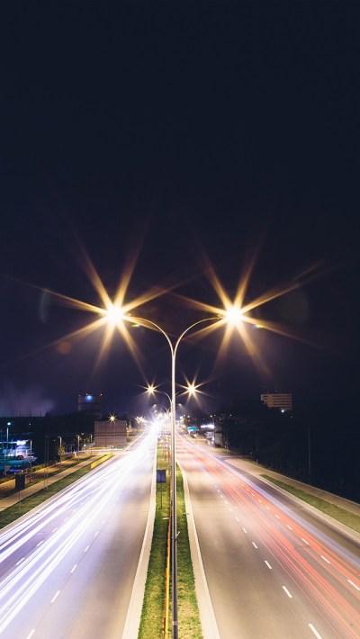 FREEIOS7   mw68-night-road-exposure-dark-light-city-car - parallax HD iPhone iPad wallpaper