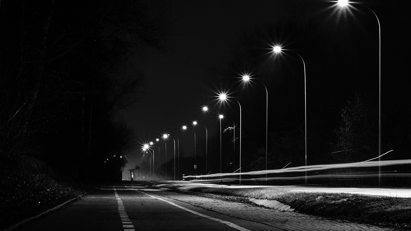 Fall Wallpaper Hd Iphone Mx29 Street Lights Dark Night Car City Bw Wallpaper