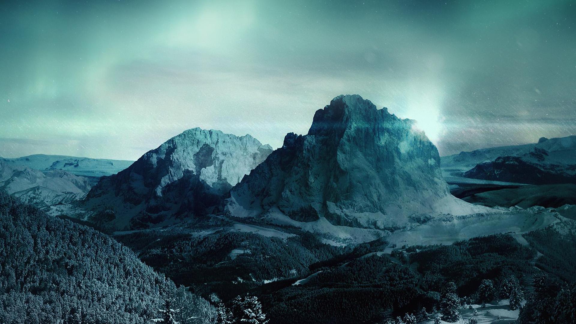 Manly Fall Wallpaper My98 Night Sky Mountain Snow Winter Aurora Wallpaper
