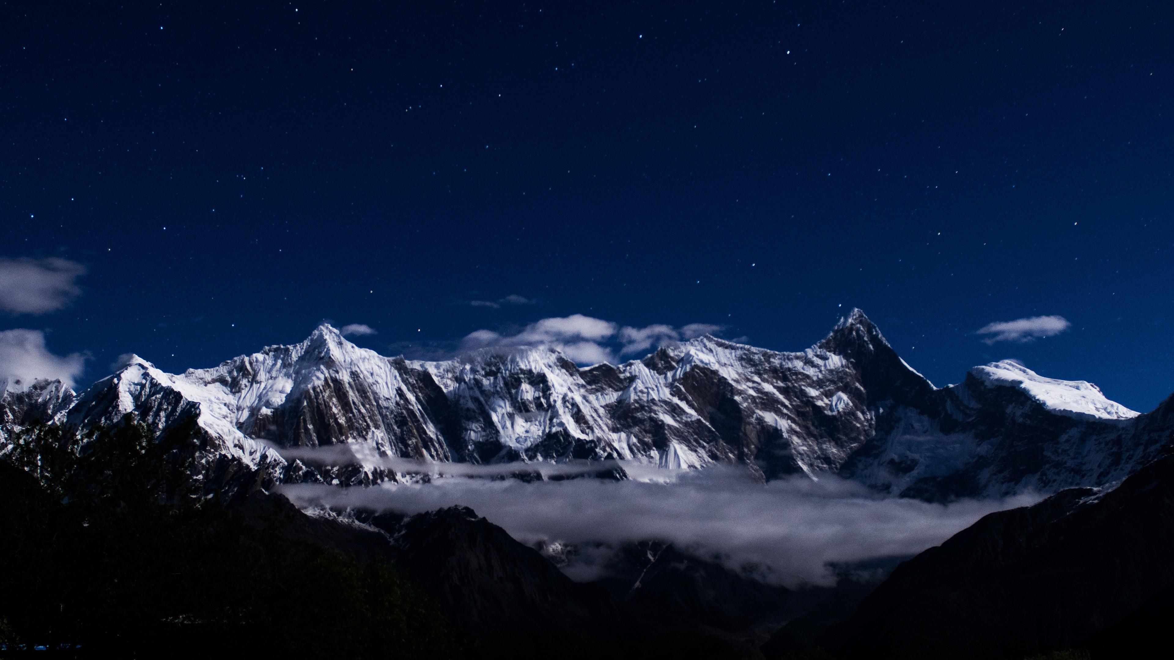3d Wallpaper For Iphone Se Ng40 Mountain Snow Dark Winter Sky Star Wallpaper