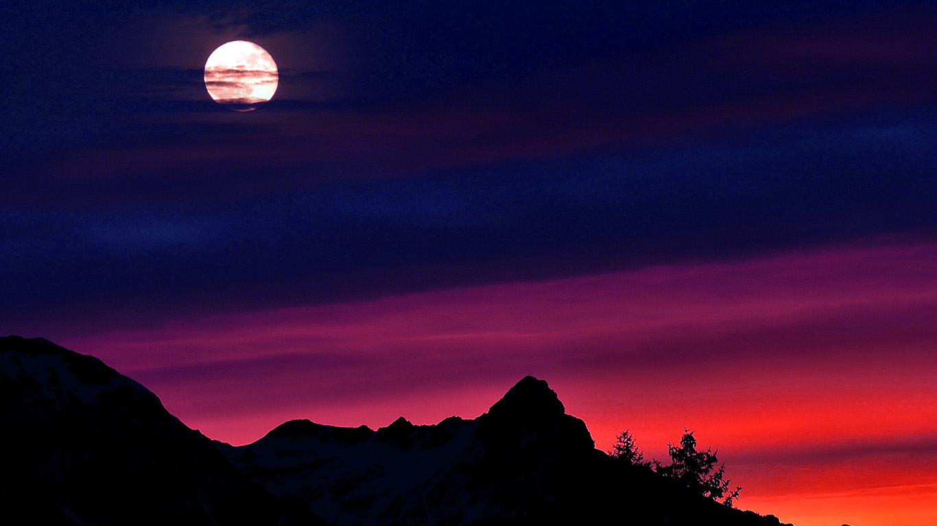Cute Fall Wallpaper Ni65 Mountain Picks Night Sunset Sky Red Blue Wallpaper