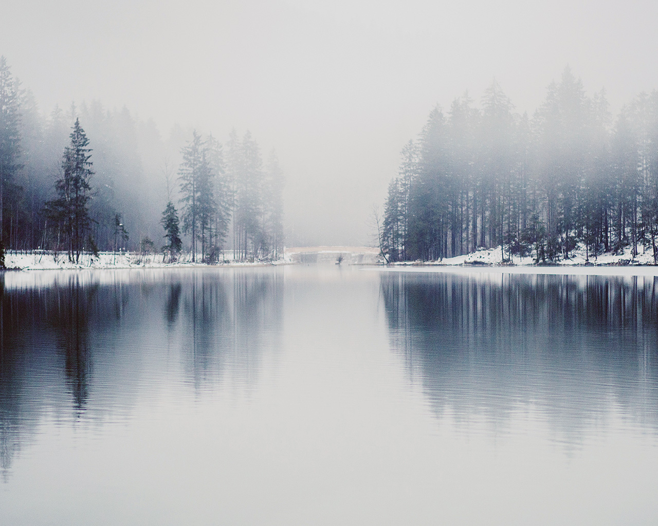 Fall Car Wallpaper Nk06 Winter Lake White Blue Wood Nature Fog Wallpaper