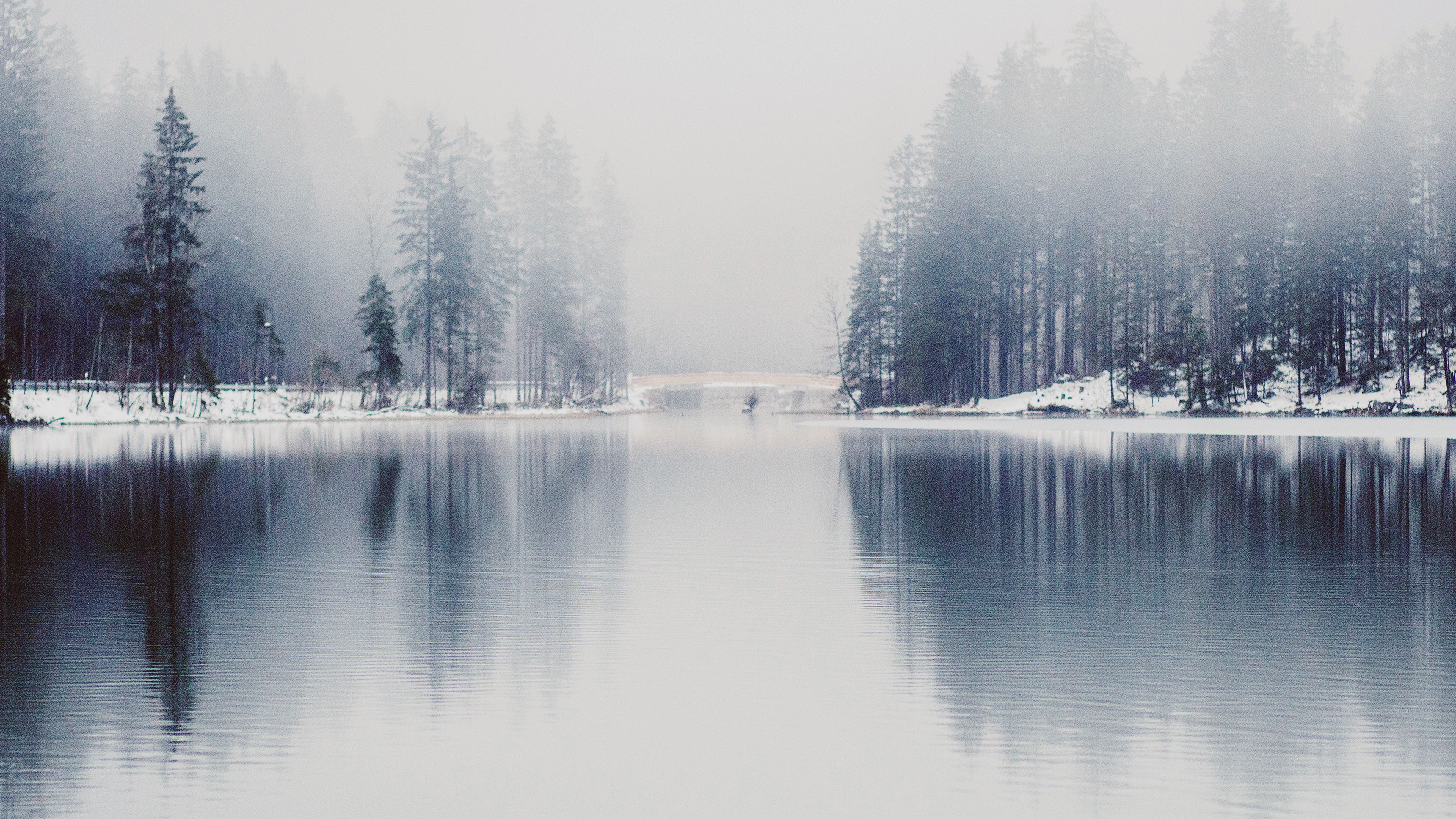 Fall Mountain Lake Wallpaper Nk06 Winter Lake White Blue Wood Nature Fog Wallpaper