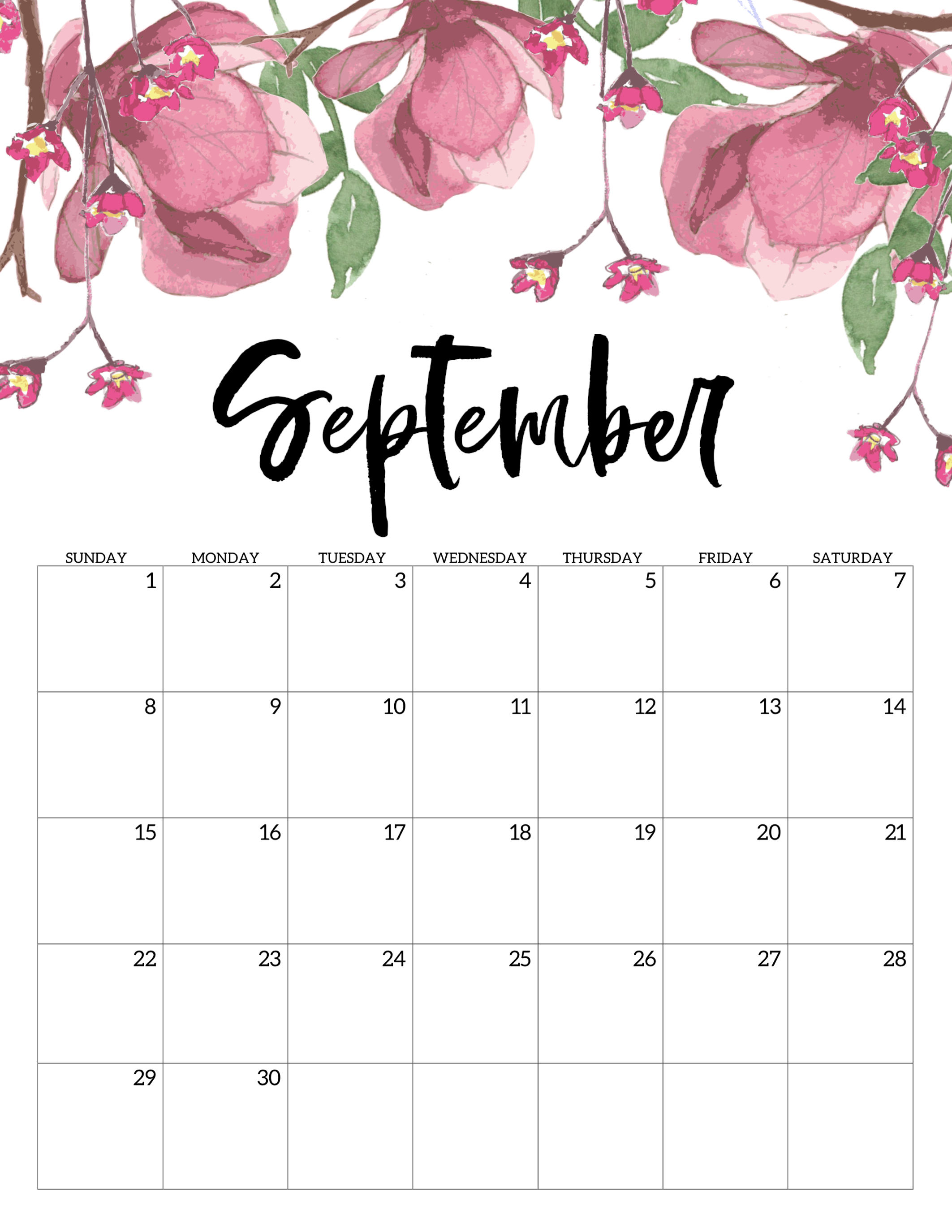 Free Calendrier Free Printable Calendar 2019 Floral Paper Trail Design