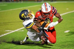 Rasheed Wright for Wissahickon tackles Donate Wilson during their game against Plymouth Whitemarsh on Friday.