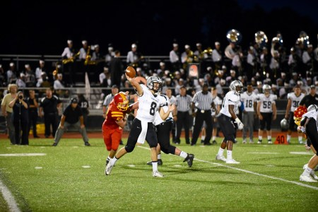 Strath Haven quarterback Evan Atsaves delivers a pass Friday. Atsaves' Panthers dropped a 23-17 decision to Haverford. (For Digital First Media/Paul Bogosian)