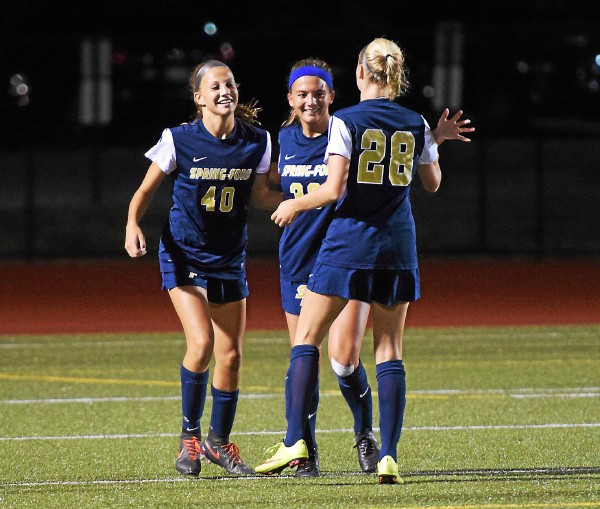 Spring-Ford's Alayna Gairo, center, is congratulated by Elle Kershner, left, and Kelly Franz after the trio created the Rams' second goal Thursday against Owen J. Roberts. (Austin Hertzog - Digital First Media)