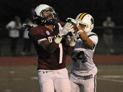 O'Hara wide receiver Justin Santilla catches  a pass behind  Bonner  & Prendergast defensive back Brandon Bettole during first quarter at Cardinal O'Hara High School.(Special to the Times / ERIC HARTLINE)