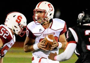 Bob Raines--Digital First Media Souderton quarterback Joe Curatto looks for a receiver during the game at William Tennent Oct. 7, 2016.