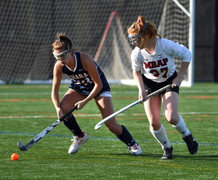 Cardinal O'Hara's Meghan Shallow (23), who scored the Lions' second goal, controls the ball as Molly McNulty (37) of Bonner & Prendergast defends. (Digital First Media/Pete Bannan)