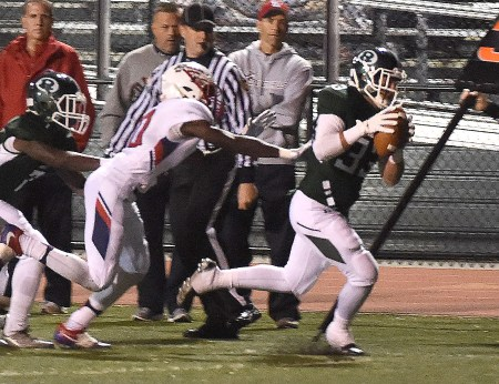 Ridley's Gregg Kimmel returns an interception which led to the game's first touchdown against Plymouth Whitemarsh Friday night. (Digital First Media/Pete Bannan)