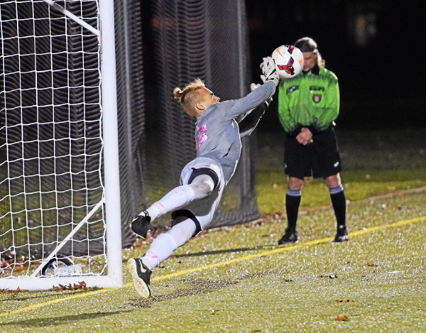 Hill School goalkeeper Aiden Perry makes the decisive save in Hill's 12-11 penalty kick win over Penn Charter in the PAISAA final. (Austin Hertzog - Digital First Media)