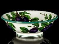 c1895 Wemyss Ware Large Fruit Bowl with Plum Decoration ...