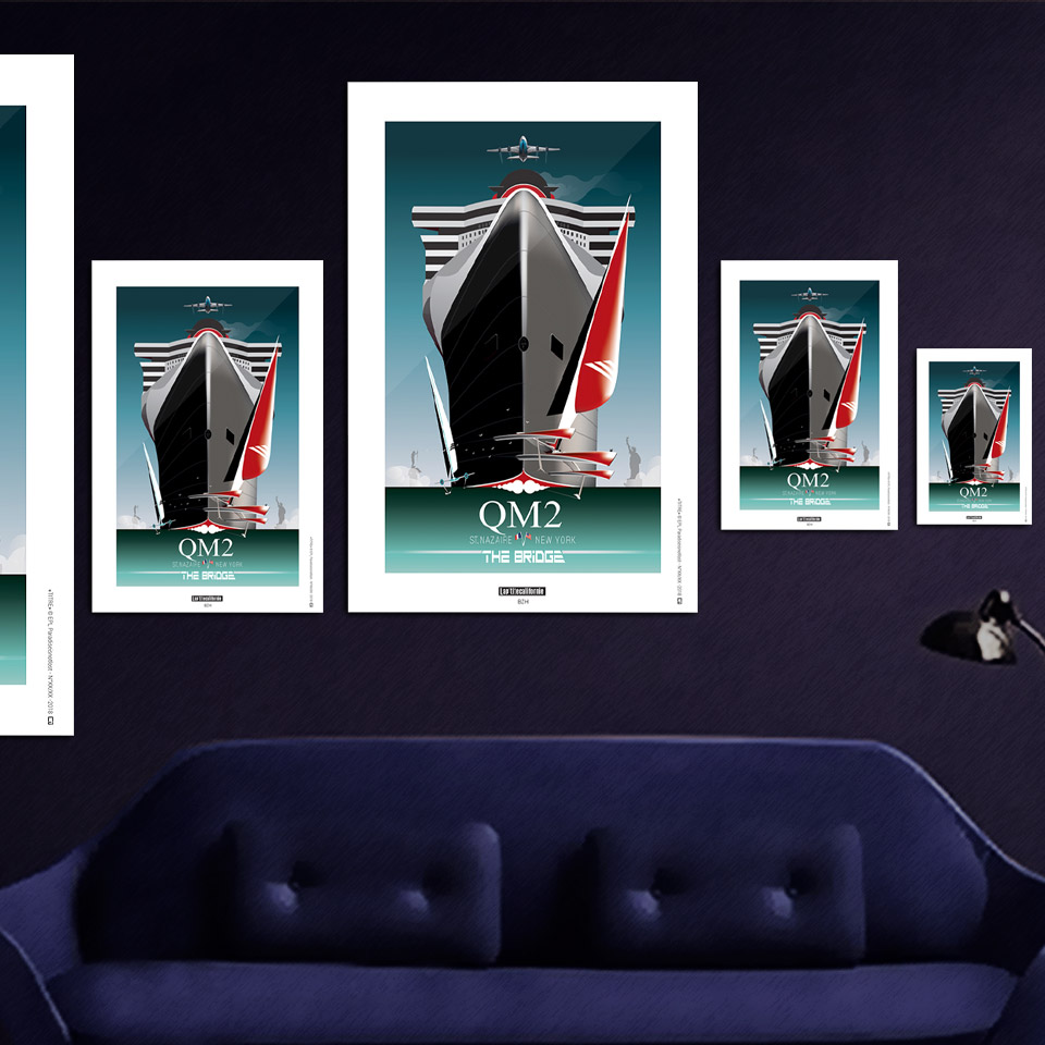Shop Art Saint Nazaire Affiche Saint-nazaire Queen Mary 2 Transat The Bridge 2017