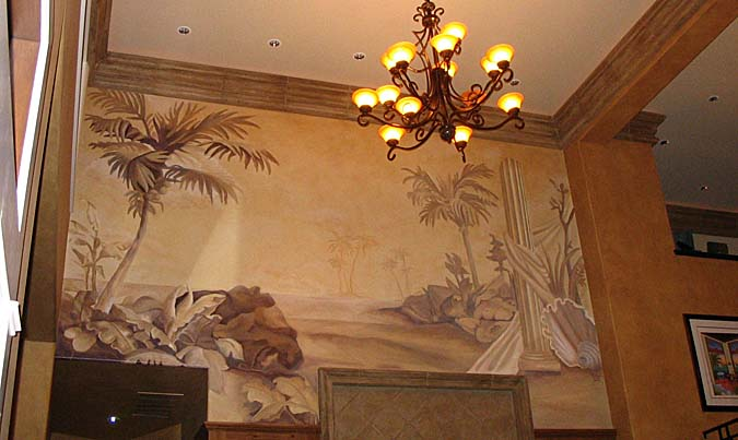 Palm Island Sepia Murals Tone On Tone - Paradise Studios Luxury Interiors